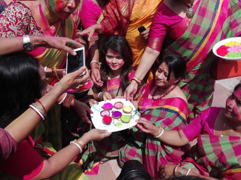 Holi festival being celebrated with festivity