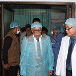 President visits ailing minister Obaidul Quader